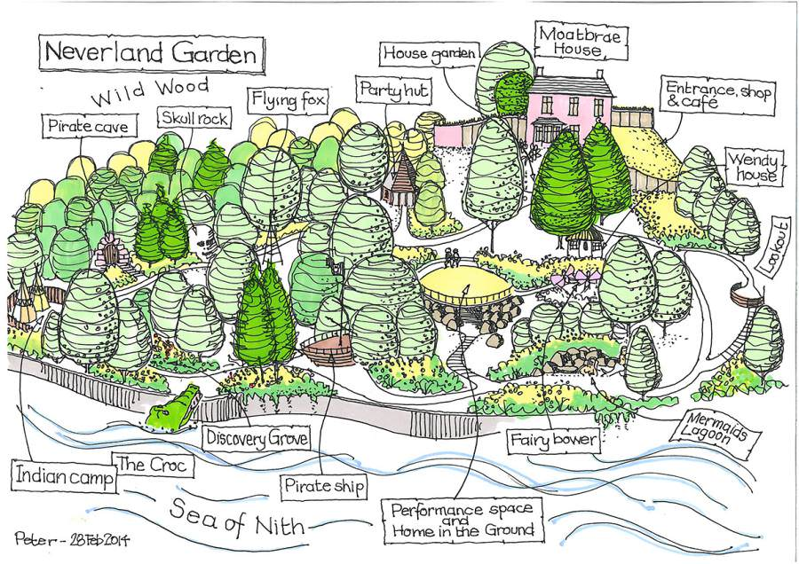 Neverland Garden sketch colour 28Feb14